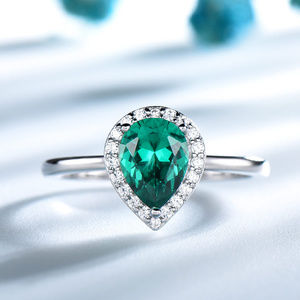 Green Emerald Engagement Ring Plain Silver Band